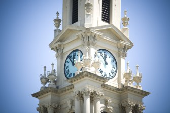 The clock tower of the South Melbourne Town Hall.