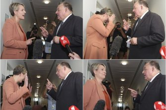 Labor MP Tanya Plibersek and Liberal MP Craig Kelly clash as they cross paths in Parliament House's press gallery.
