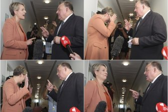 A series of photos showing Labor MP Tanya Plibersek and Liberal MP Craig Kelly having a robust discussion as they cross paths in the corridor of Parliament House's press gallery.