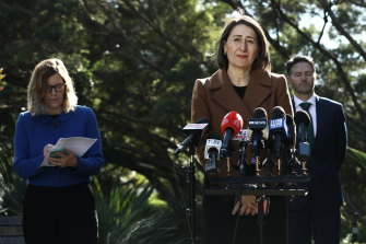 Premier Gladys Berejiklian, Minister for Customer Service Victor Dominello and NSW Chief Health Officer Kerry Chant update the media on the NSW government's coronavirus response on Thursday.