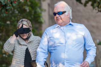 Con and Liudmila Petropoulos leaving the Geelong Magistrates Court on Tuesday.