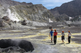 Tourists on White Island in 2011.