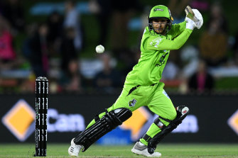 Nida Dar of the Thunder plays a shot during the Women's Big Bash League match.