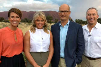 Natalie Barr, left, with Sunrise colleagues Samantha Armytage, David Koch and Mark Beretta. Barr is considered the frontrunner to replace Armytage.