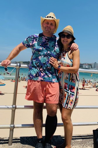 """Twelve months to the day after the incident, he returned to Bondi Beach with his wife, Ruth, to """"finish the journey""""."""
