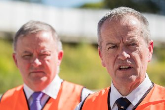 Bill Shorten and Anthony Albanese. Federal Labor will commit $200 million to the next stage of Canberra's light rail on Tuesday.