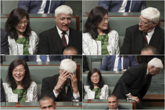 "Bob Katter said when he realised who he was sitting next to, he ""nearly died of shock""."