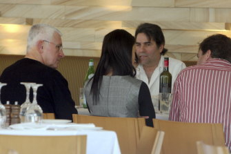 From left: Ron Medich, Lucky Gattellari, Andrew Howard and Pamela Medich lunching at Tuscany restaurant in Leichhardt the day after Michael McGurk's murder.