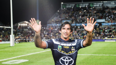 Fond farewell: Johnathan Thurston waves goodbye to the Cowboys faithful.