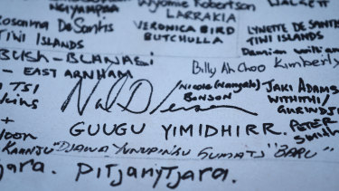 Signatories to the Uluru Statement alongside their nation.