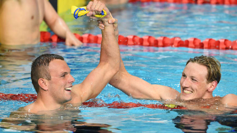 Personal best: Mack Horton wins silver behind teammate Kyle Chalmers in the 200m freestyle at the Commonwealth Games.