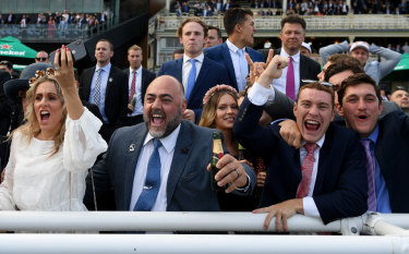 Champagne finish: Racegoers were in fine form on Everest day.