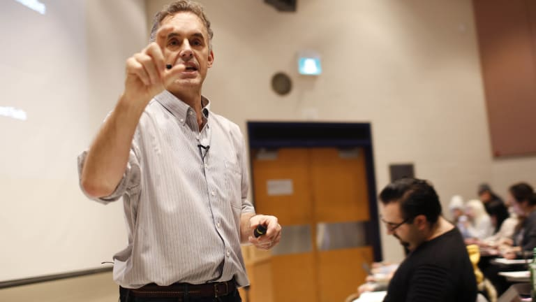 Jordan Peterson lecturing at the University of Toronto, where his political activism has raised hackles.