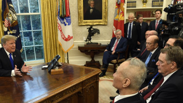 US President Donald Trump with Chinese Vice Premier Liu He, front left, in the Oval Office.