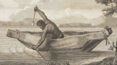 An engraving by Samuel John Neele of James Grant's image of 'Pimbloy' that is reputedly the only known depiction of Pemulwuy.