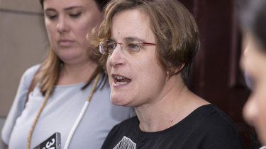Patrick Pritzwald-Stegmann's widow Christine Baumberg outside court on Wednesday.