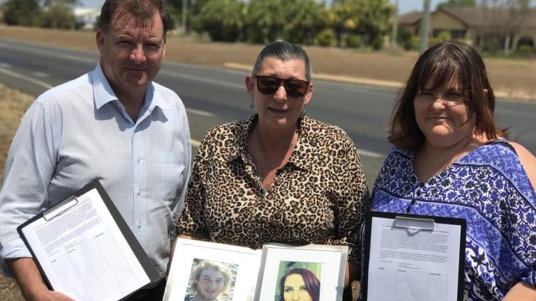 Member for Burnett, Stephen Bennett with grieving mothers Kerri Walker (centre) and Trisha Mabley (right).