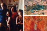 Valerie Strong with her family; her artworks Hawkesbury and Banksias.