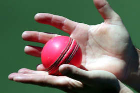 An Australian coaching staff member holds a pink ball during training at the Adelaide Oval ahead of their cricket test against New Zealand in Adelaide, Thursday, Nov. 26, 2015. The test starting Friday will be the first ever day/night cricket test match and will use a new developed pink ball. (AP Photo/Rick Rycroft) squiz