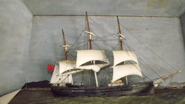 A model of the Emigrant, made by sailor James Hall and passed down through his family. The ship was the second government-assisted immigrant vessel to come directly from the UK to Moreton Bay.
