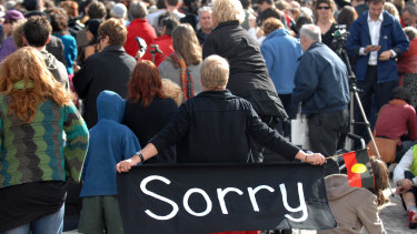 Thousands of people gathered in Federation Square in February 2008 to watch Prime Minister Kevin Rudd's apology to the Stolen Generations.
