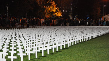WA pro-life campaigners marked 20 years of since abortion became legal on Saturday night at the annual Rally for Life. Campaigners say each of the 3300 crosses represents 50 of the abortions that have happened in WA since terminations were legalised.