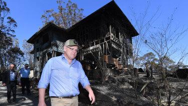 Prime Minister Scott Morrison visits bushfire-affected area Binna Burra in the Scenic Rim region on Friday.