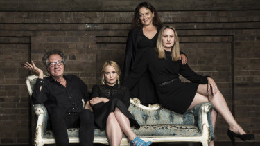 Geoffrey Rush and Eryn Jean Norvill, with fellow cast members Helen Buday, standing, and Helen Thomson, right, at the Sydney Theatre Company ahead of the King Lear production.