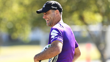 Calm before the Storm: Cameron Smith at Melbourne training this week.