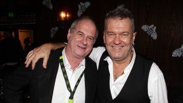 Michael Gudinski with Jimmy Barnes in Sydney in 2013.