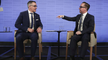 Virgin chief executive Paul Scurrah and Qantas CEO Alan Joyce. A new form of airline competition is emerging between Virgin and Qantas: a battle of the balance sheets.