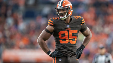 Myles Garrett of the Cleveland Browns has been suspended for the rest of the season.