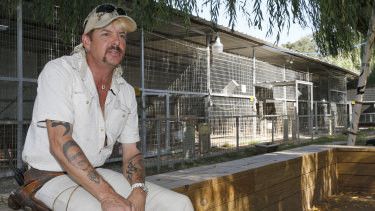 Joe Exotic, pictured here at his Oklahoma zoo in 2013, is now serving a 22-year sentence for conspiring to murder Baskin.