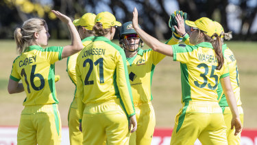 Australia celebrate during their win on Sunday.