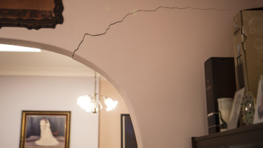 He heard a splitting noise when a crack above an archway in his lounge room appeared.