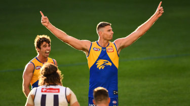 Nathan Vardy of the Eagles celebrates a goal during the derby against the Dockers.