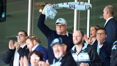 Scott Morrison cheers on the Sharks.