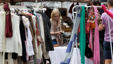Browsing at the second-hand clothes market in Sydney's Surry Hills.