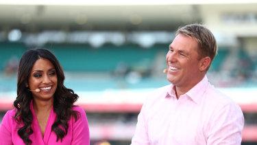 Isa Guha and Shane Warne at the 2019 Test series.
