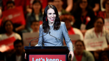 New Zealand Prime Minister Jacinda Ardern speaks at the Labour Party 2020 election campaign launch.