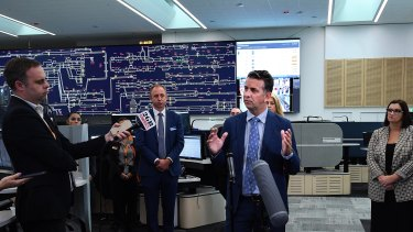 NSW Transport Minister Andrew Constance at the Rail Operations Centre in May.