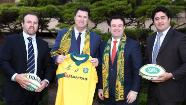SANZAAR CEO Andy Marinos, Rugby Australia chairman Hamish McLennan, NSW Minister Stuart Ayres and former Wallaby Morgan Turinui at a Rugby Championship fixtures announcement.
