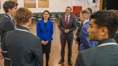 Premier Gladys Berejiklian and Education Minister Rob Stokes meet with students at Randwick Boys.