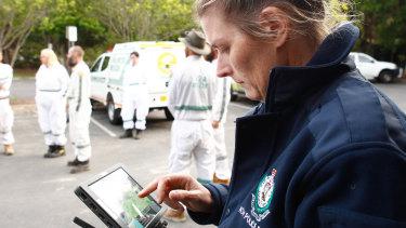 Senior Constable Amanda Vidler operates the drone.