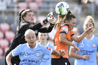 City keeper Teagan Micah stops another Brisbane effort.