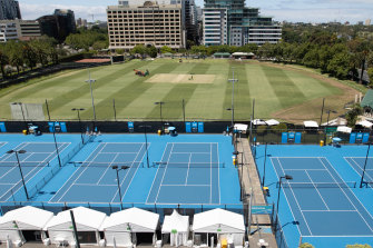 The set-up at the View on St Kilda Road, for tennis arrivals quarantining ahead of the Australian Open.