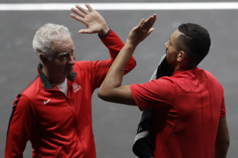American great John McEnroe with Nick Kyrgios at last year's Laver Cup.