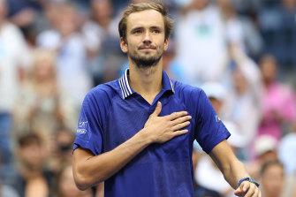 Daniil Medvedev celebrates his US Open semi-final win.