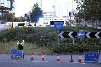 Police investigate near Forbury Gardens in the town centre of Reading.