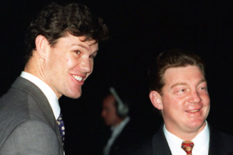 Sydney heavyweights: James Packer and Phil Gould in 1996.